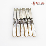 Antique Orange Fruit Knives Set Sterling Silver Shanks Mother Of Pearl Handles 1890