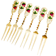Gilt Strawberry Forks Set Enamel Strawberry Pattern Sterling Silver 1900
