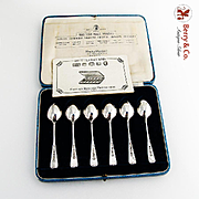 Jubilee Silver Coffee Spoons Boxed Set British Hallmarks Sterling Silver 1935