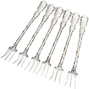 Louis XV Seafood Oyster Cocktail Forks Set Whiting Mfg Co Sterling Silver
