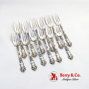 Bridal Flower Salad Forks Set Watson Sterling Silver 1910 Monogram