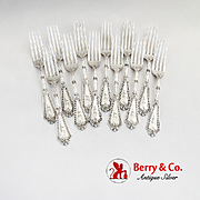 Rosette Dinner Forks Set Whiting Mfg Co Sterling Silver 1890 Monogram