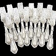 Rosette Dinner Forks Set Whiting Mfg Co Sterling Silver 1890 Monogram