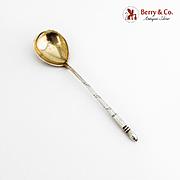 Russian Niello Dessert Spoon Moscow 1865 84 Standard Silver