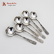 Repousse Bouillon Spoons Set of 6 Sterling Silver Kirk
