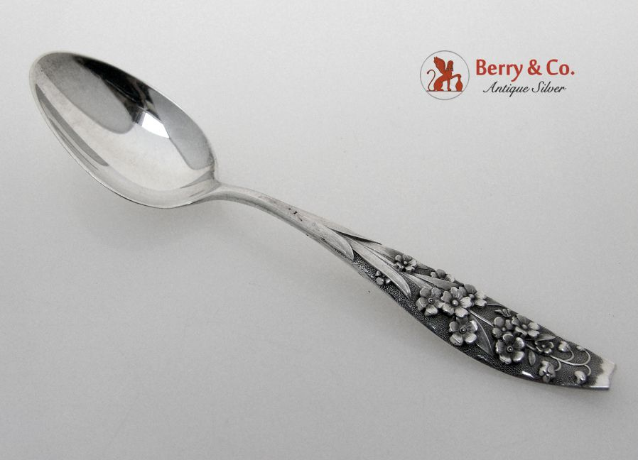 Forget Me Not Shiebler Floral Teaspoon Patent 1889 Sterling Silver