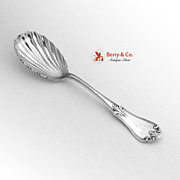 Fleur-de-Lis Berry Spoon Shell Bowl Coin Silver 1860 Farrington Hunnewell Boston