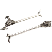 Road Runner Knife Rests Mexico 1950 Sterling Silver