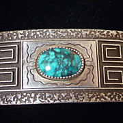 Al Nez Sterling and turquoise belt buckle