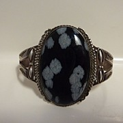 Pre-WWII ingot silver snowflake obsidian Native American bracelet