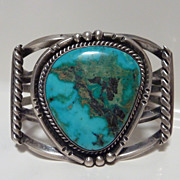 Large Navajo single  turquoise stone cuff bracelet
