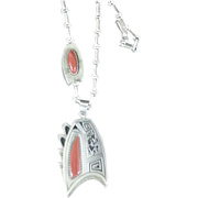 Hopi Roy Talahetewa silver and coral kokapeli necklace
