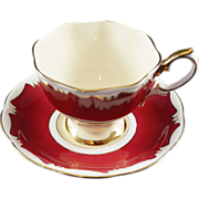Royal Albert Fine Bone China Cup & Saucer RED with Yellow Bowl and Gold Trim - Red Tag Sale Item