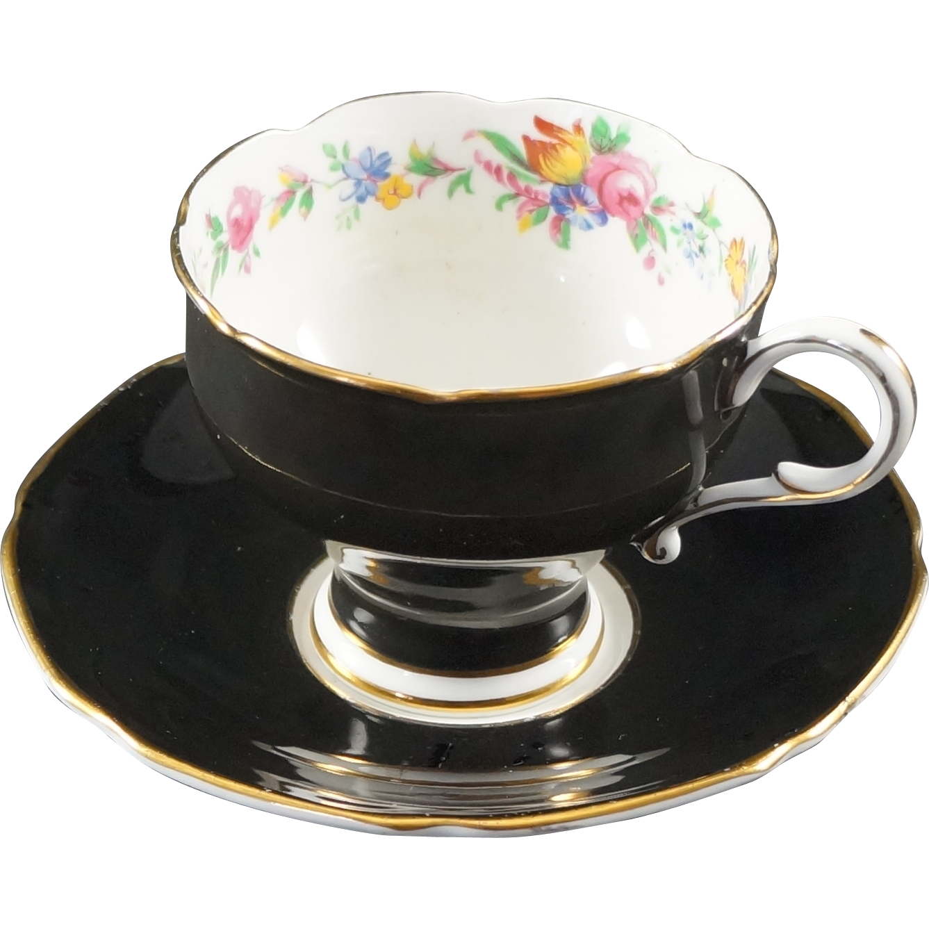 paragon fine bone china cup saucer black body sold on ruby lane. Black Bedroom Furniture Sets. Home Design Ideas