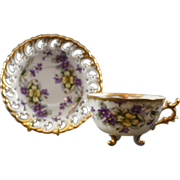 Shafford Japan Three Footed Cup & Saucer with Flowers and Lots of Gold