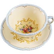 PARAGON Fine Bone China Cup & Saucer Blue Trim With  FLOWERS