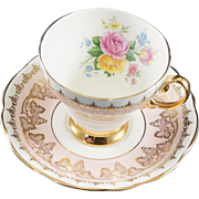 Foley Fine Bone China Cup & Saucer Fancy Gold on Pink with Flowers