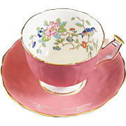 Aynsley Fine Bone China Cup & Saucer Blue with Pink Body and the Pembroke Pattern