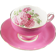 Adderley Fine Bone China Cup and Saucer  Pink Body with Flowers in the Bowl