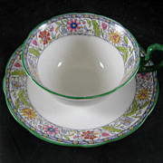 Aynsley Fine Bone China Cup & Saucer with Green Trim - Red Tag Sale Item