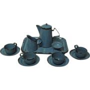 Granite-ware Children's tea set 12 pc set blue