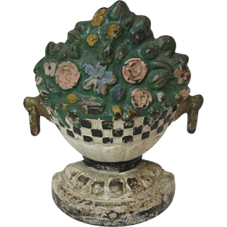 Cast Iron Door Stop Flower Pot Basket