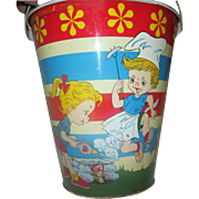 Great Sand Bucket Pail Ohio Art Kids having BBQ