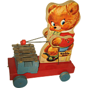 Fisher Price Wood Pull Toy #777 Teddy Bear Zilo