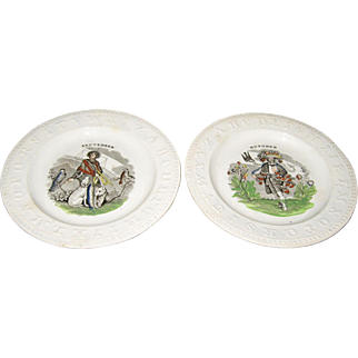 2 ABC Plates 19th Century October September