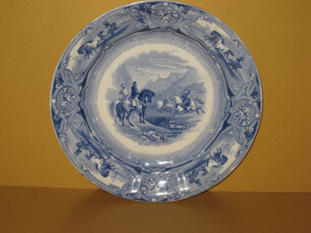 Staffordshire Plate Shaw's Peruvian Horse Hunt 1850
