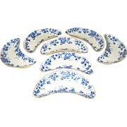 Maddock Flow Blue Bone Dishes Oakland Pattern set of 7