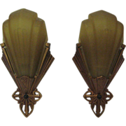 Pair Art Deco Wall Sconces Lamps with slip glass shade