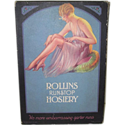 Rollins Runstop Hosiery Box 1920's Pin-up Girl