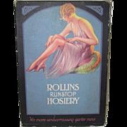 Rollins Runstop Hosiery Box 1920's Pin-up Girl