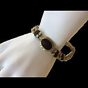 Outstanding GEORGIAN 10K Gold & Onyx Bracelet w/ Cannetille Work - Early 1800s