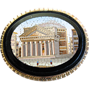 Outstanding VICTORIAN MICRO MOSAIC Brooch - Pantheon Rome - Gold Filled - Museum Quality