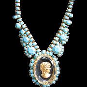Wonderful & Rare D&E JULIANA Cameo Necklace w/ Fabulous Faux Turquoise Stones