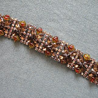 Large &Fabulous D&E JULIANA Flat Design Bracelet - Topaz and Aurora Borealis
