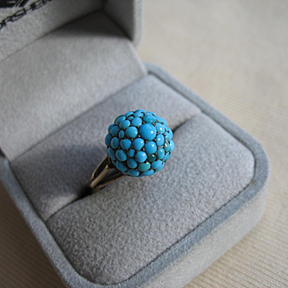 Majestic & Unique VICTORIAN TURQUOISE Orb Ring in 14K Yellow Gold