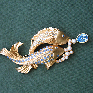 Elizabeth Taylor for Avon - Koi Fish Brooch Pin - Sea Shimmer Collection - Mint!