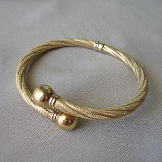 Stunning 18K Yellow Gold Twisted Cuff BANGLE BYPASS Bracelet