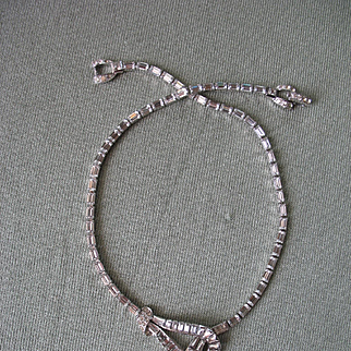 Gorgeous Vintage MAZER BROS. Crystal Rhinestone Lariat Necklace 1940s