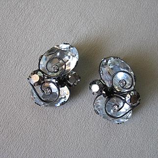 Unique & Wonderful SCHREINER NEW YORK Earrings - Large Crystal Stones w/ Wirework
