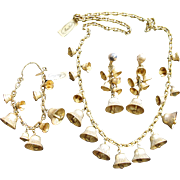 Magnificent Rare Vintage MIRIAM HASKELL Goldtone Jingling Bells Parure Necklace Bracelet Earrings - So Collectible!