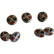 Antique Victorian SCOTTISH AGATE 9K Gold Cuff Links & Shirt Studs Set
