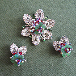 "Sensational 1961 HOBE' ""Blossom d'Elegance"" Brooch Earrings - Book!"