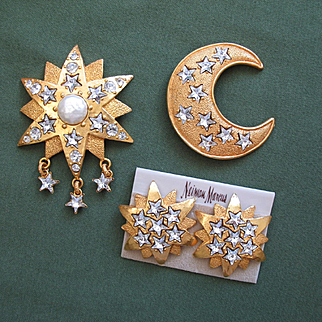 Spectacular Rare DOMINIQUE AURIENTIS Paris - Lg Star & Moon Brooches w/ Lg Star Earrings