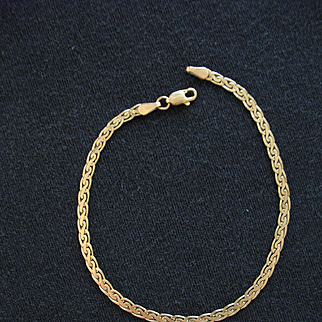 "Vintage Estate 14K Yellow Gold Flat Herringbone CHAIN BRACELET 7 1/4"" 3.4 gms"