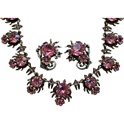 Outstanding HOLLYCRAFT 1954 Pink Rhinestone Floral Necklace & Earrings