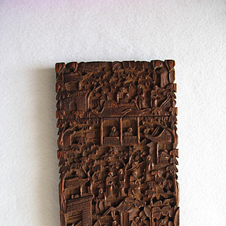 Antique Hand Carved Sandalwood CHINESE CARD CASE Qing Dynasty
